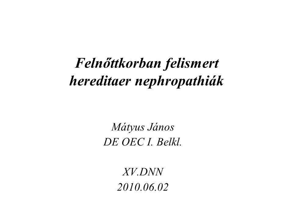 Felnőttkorban felismert hereditaer nephropathiák Mátyus János DE OEC I. Belkl. XV.DNN 2010.06.02