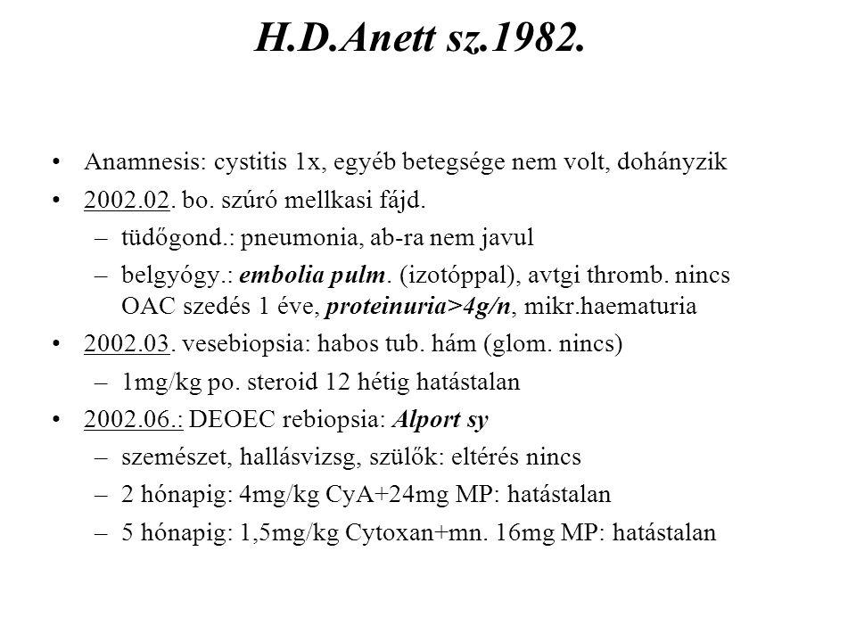 H.D.Anett sz.1982. Anamnesis: cystitis 1x, egyéb betegsége nem volt, dohányzik 2002.02. bo. szúró mellkasi fájd. –tüdőgond.: pneumonia, ab-ra nem javu