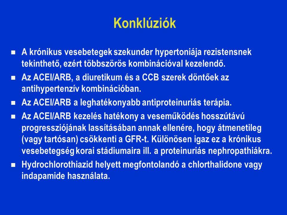 Konklúziók A krónikus vesebetegek szekunder hypertoniája rezistensnek tekinthető, ezért többszörös kombinációval kezelendő. Az ACEI/ARB, a diuretikum