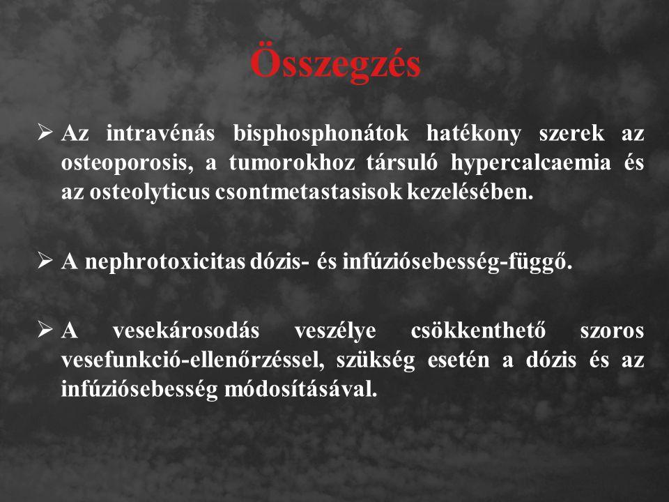 Összegzés  Az intravénás bisphosphonátok hatékony szerek az osteoporosis, a tumorokhoz társuló hypercalcaemia és az osteolyticus csontmetastasisok ke