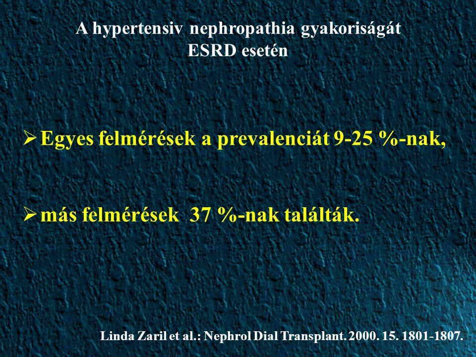  Egyes felmérések a prevalenciát 9-25 %-nak,  más felmérések 37 %-nak találták. Linda Zaril et al.: Nephrol Dial Transplant. 2000. 15. 1801-1807. A