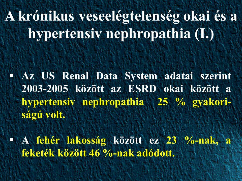 A krónikus veseelégtelenség okai és a hypertensiv nephropathia (I.)  Az US Renal Data System adatai szerint 2003-2005 között az ESRD okai között a hy