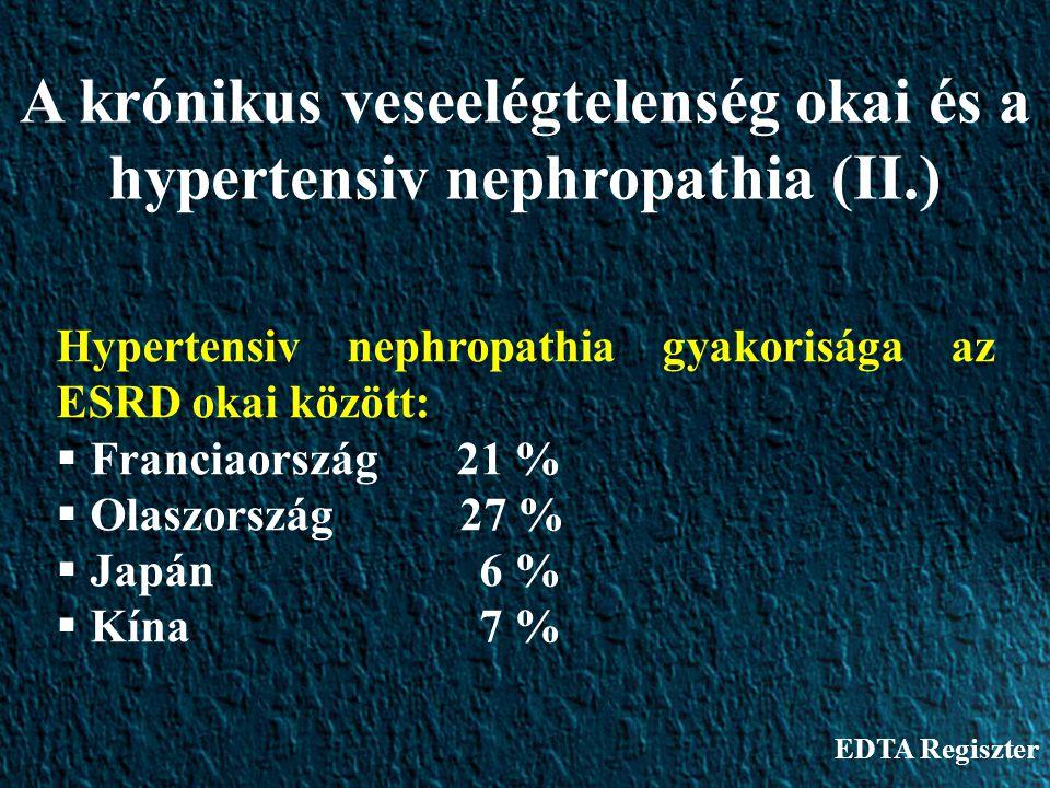 Hypertensiv nephropathia gyakorisága az ESRD okai között:  Franciaország 21 %  Olaszország 27 %  Japán 6 %  Kína 7 % A krónikus veseelégtelenség o