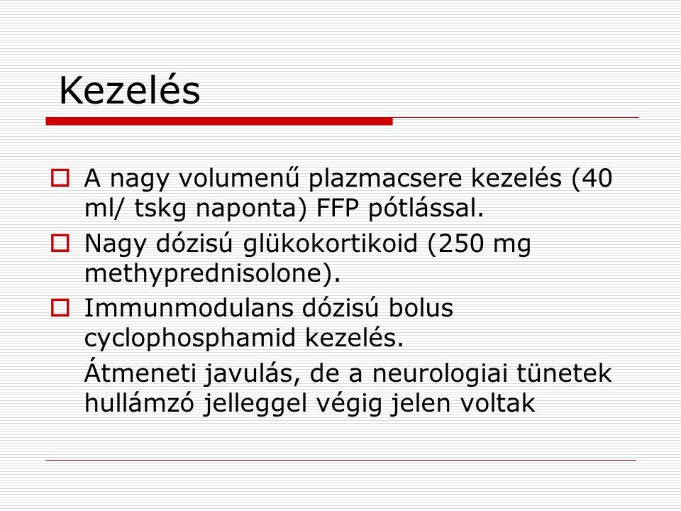 Kezelés  A nagy volumenű plazmacsere kezelés (40 ml/ tskg naponta) FFP pótlással.  Nagy dózisú glükokortikoid (250 mg methyprednisolone).  Immunmod