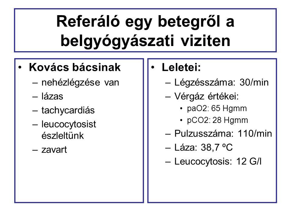 Kovács bácsinak sepsise van… Sepsis: infekcióhoz társuló szisztémás gyulladásos válaszreakció, az alábbi tünetek közül legalább 2: –Hőmérséklet: 38 °C –Pulzusszám: >90/perc –Légzésszám 20/perc, PaCO 2 <30 Hgmm –Fvs-szám: 12 G/l, vagy 10% éretlen forma (Crit Care Med 2008;38:296-327)