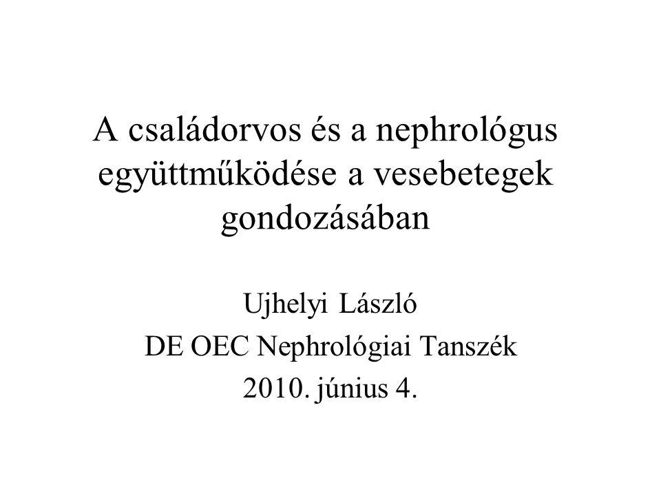 A családorvos és a nephrológus együttműködése a vesebetegek gondozásában Ujhelyi László DE OEC Nephrológiai Tanszék 2010. június 4.
