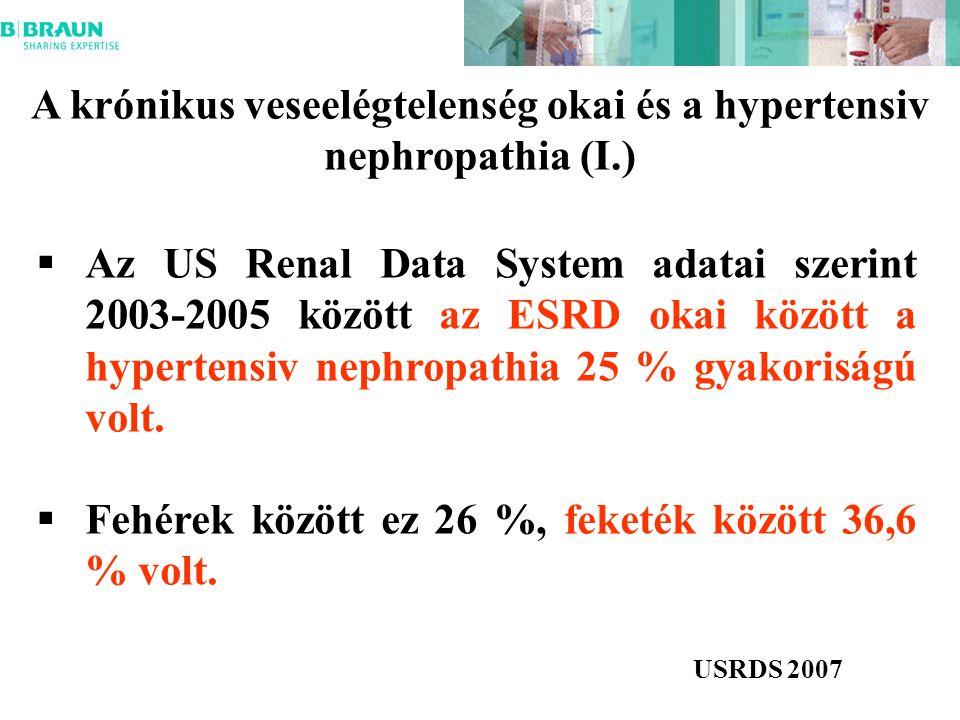 A krónikus veseelégtelenség okai és a hypertensiv nephropathia (I.)  Az US Renal Data System adatai szerint 2003-2005 között az ESRD okai között a hypertensiv nephropathia 25 % gyakoriságú volt.