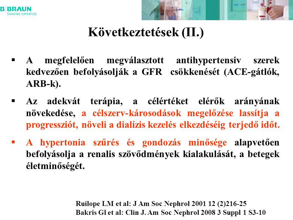 Következtetések (II.)  A megfelelően megválasztott antihypertensiv szerek kedvezően befolyásolják a GFR csökkenését (ACE-gátlók, ARB-k).