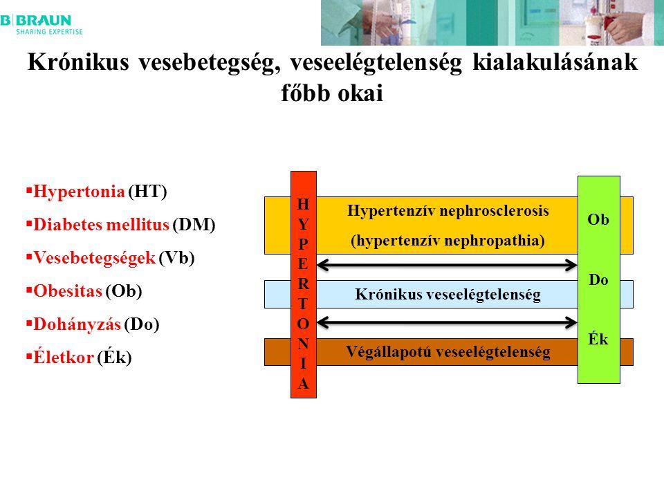 Krónikus vesebetegség, veseelégtelenség kialakulásának főbb okai  Hypertonia (HT)  Diabetes mellitus (DM)  Vesebetegségek (Vb)  Obesitas (Ob)  Dohányzás (Do)  Életkor (Ék) Hypertenzív nephrosclerosis (hypertenzív nephropathia) Krónikus veseelégtelenség Végállapotú veseelégtelenség HYPERTONIA HYPERTONIA Ob Do Ék