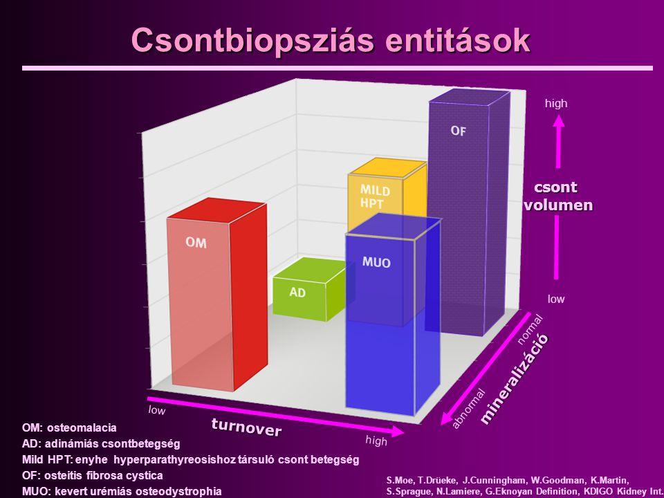 csont volumen low high abnormal normal mineralizáció turnover low high OM: osteomalacia AD: adinámiás csontbetegség Mild HPT: enyhe hyperparathyreosis