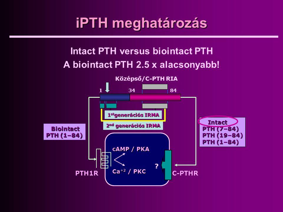 iPTH meghatározás Intact PTH versus biointact PTH A biointact PTH 2.5 x alacsonyabb! Biointact PTH (1–84) Intact PTH (7–84) PTH (19–84) PTH (1–84) Köz