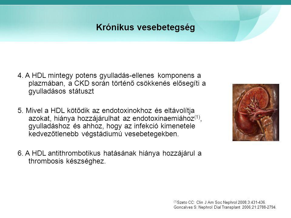 Krónikus vesebetegség 4. A HDL mintegy potens gyulladás-ellenes komponens a plazmában, a CKD során történő csökkenés elősegíti a gyulladásos státuszt