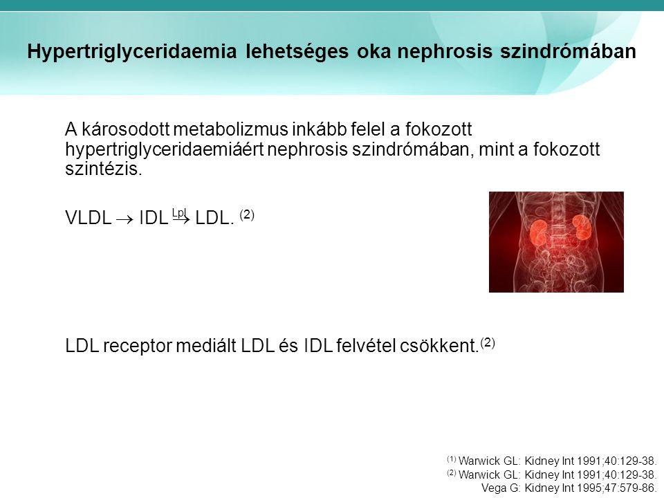 Hypertriglyceridaemia lehetséges oka nephrosis szindrómában A károsodott metabolizmus inkább felel a fokozott hypertriglyceridaemiáért nephrosis szindrómában, mint a fokozott szintézis.