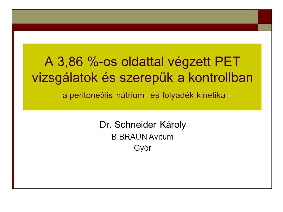 A 3,86 %-os oldattal végzett PET vizsgálatok és szerepük a kontrollban - a peritoneális nátrium- és folyadék kinetika - Dr. Schneider Károly B.BRAUN A