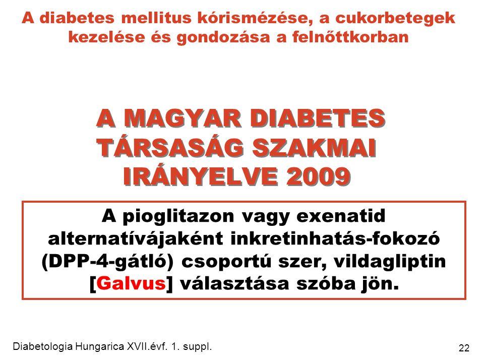 22 A MAGYAR DIABETES TÁRSASÁG SZAKMAI IRÁNYELVE 2009 A pioglitazon vagy exenatid alternatívájaként inkretinhatás-fokozó (DPP-4-gátló) csoportú szer, v