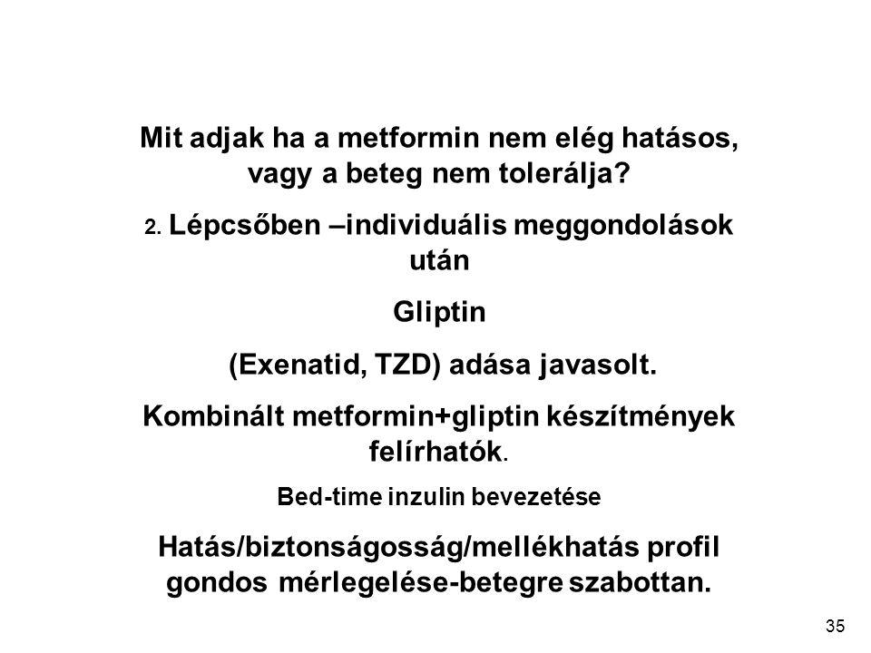35 Mit adjak ha a metformin nem elég hatásos, vagy a beteg nem tolerálja? 2. Lépcsőben –individuális meggondolások után Gliptin (Exenatid, TZD) adása