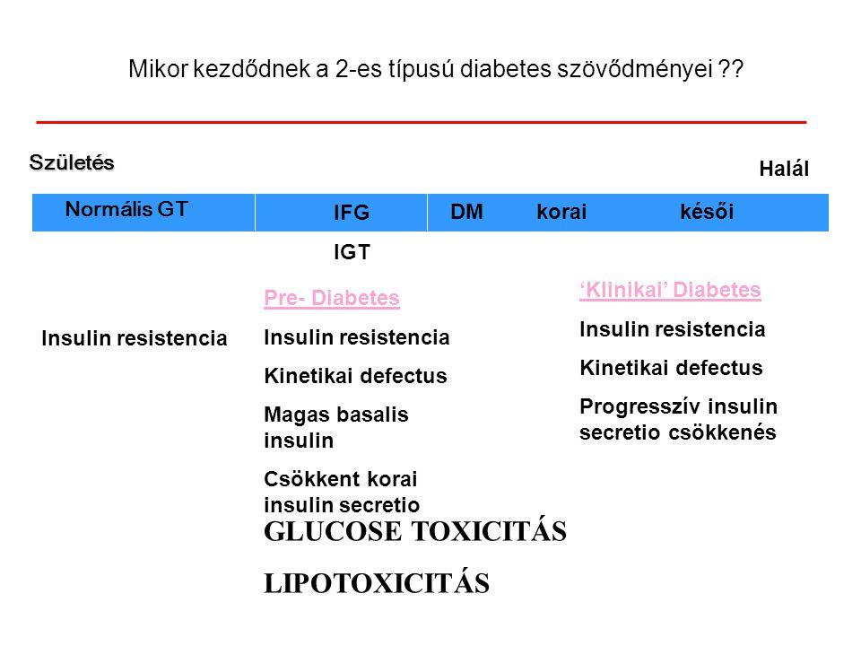 Mikor kezdődnek a 2-es típusú diabetes szövődményei ?? Halál IFG IGT DMkoraikésői 'Klinikai' Diabetes Insulin resistencia Kinetikai defectus Progressz
