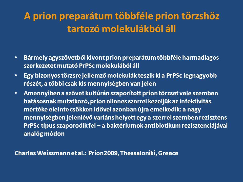 A prion preparátum többféle prion törzshöz tartozó molekulákból áll Bármely agyszövetből kivont prion preparátum többféle harmadlagos szerkezetet mutató PrPSc molekulából áll Egy bizonyos törzsre jellemző molekulák teszik ki a PrPSc legnagyobb részét, a többi csak kis mennyiségben van jelen Amennyiben a szövet kultúrán szaporított prion törzset vele szemben hatásosnak mutatkozó, prion ellenes szerrel kezeljük az infektivitás mértéke eleinte csökken idővel azonban újra emelkedik: a nagy mennyiségben jelenlévő variáns helyett egy a szerrel szemben rezisztens PrPSc típus szaporodik fel – a baktériumok antibiotikum rezisztenciájával analóg módon Charles Weissmann et al.: Prion2009, Thessaloniki, Greece
