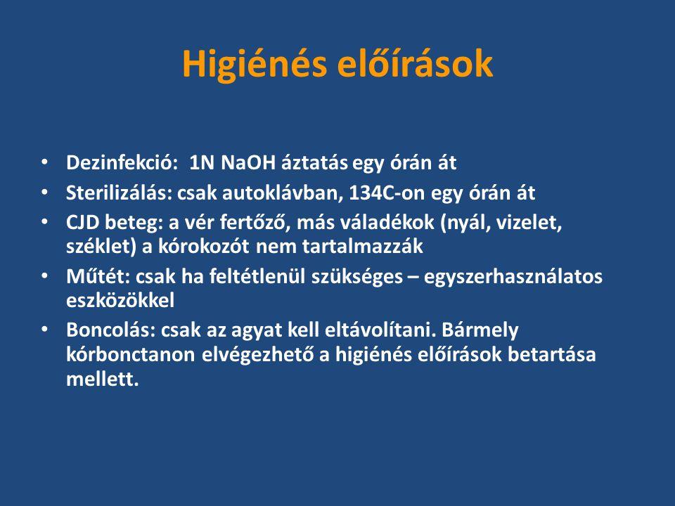 Dezinfekció: 1N NaOH áztatás egy órán át Sterilizálás: csak autoklávban, 134C-on egy órán át CJD beteg: a vér fertőző, más váladékok (nyál, vizelet, széklet) a kórokozót nem tartalmazzák Műtét: csak ha feltétlenül szükséges – egyszerhasználatos eszközökkel Boncolás: csak az agyat kell eltávolítani.