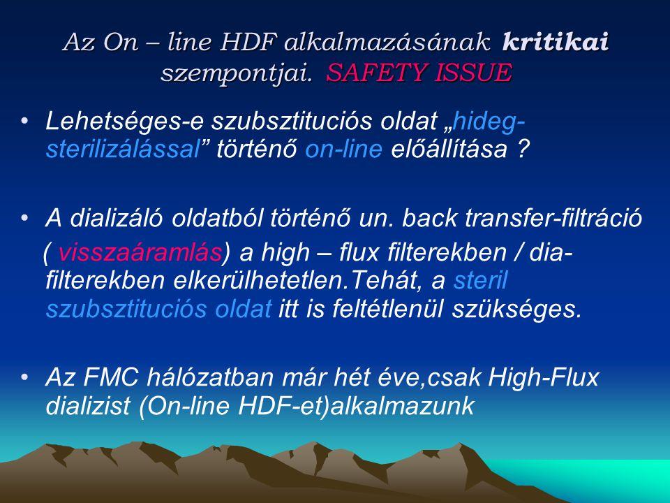 """Az On – line HDF alkalmazásának kritikai szempontjai. SAFETY ISSUE Lehetséges-e szubsztituciós oldat """"hideg- sterilizálással"""" történő on-line előállít"""