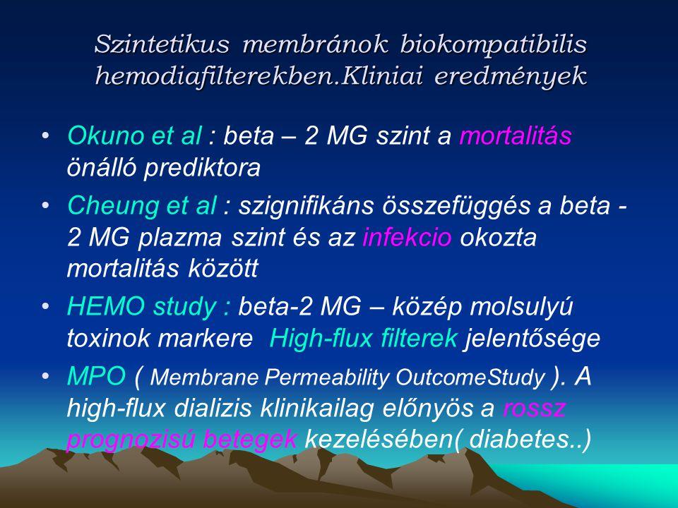 Szintetikus membránok biokompatibilis hemodiafilterekben.Kliniai eredmények Okuno et al : beta – 2 MG szint a mortalitás önálló prediktora Cheung et a