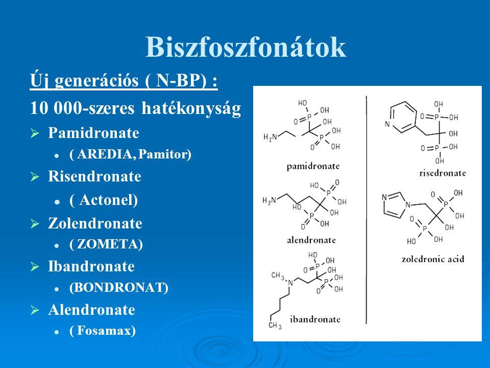 Biszfoszfonátok Új generációs ( N-BP) : 10 000-szeres hatékonyság   Pamidronate ( AREDIA, Pamitor)   Risendronate ( Actonel)   Zolendronate ( ZO