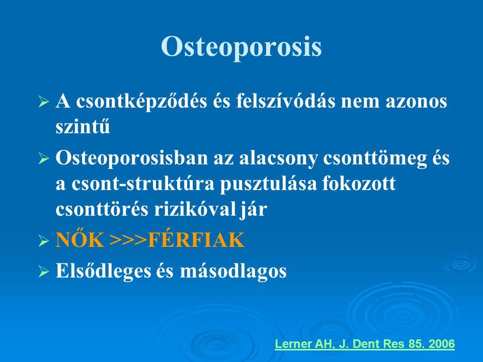 Osteoporosis   A csontképződés és felszívódás nem azonos szintű   Osteoporosisban az alacsony csonttömeg és a csont-struktúra pusztulása fokozott