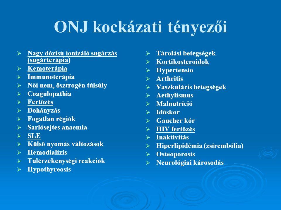 ONJ kockázati tényezői   Nagy dózisú ionizáló sugárzás (sugárterápia)   Kemoterápia   Immunoterápia   Női nem, ösztrogén túlsúly   Coagulopa