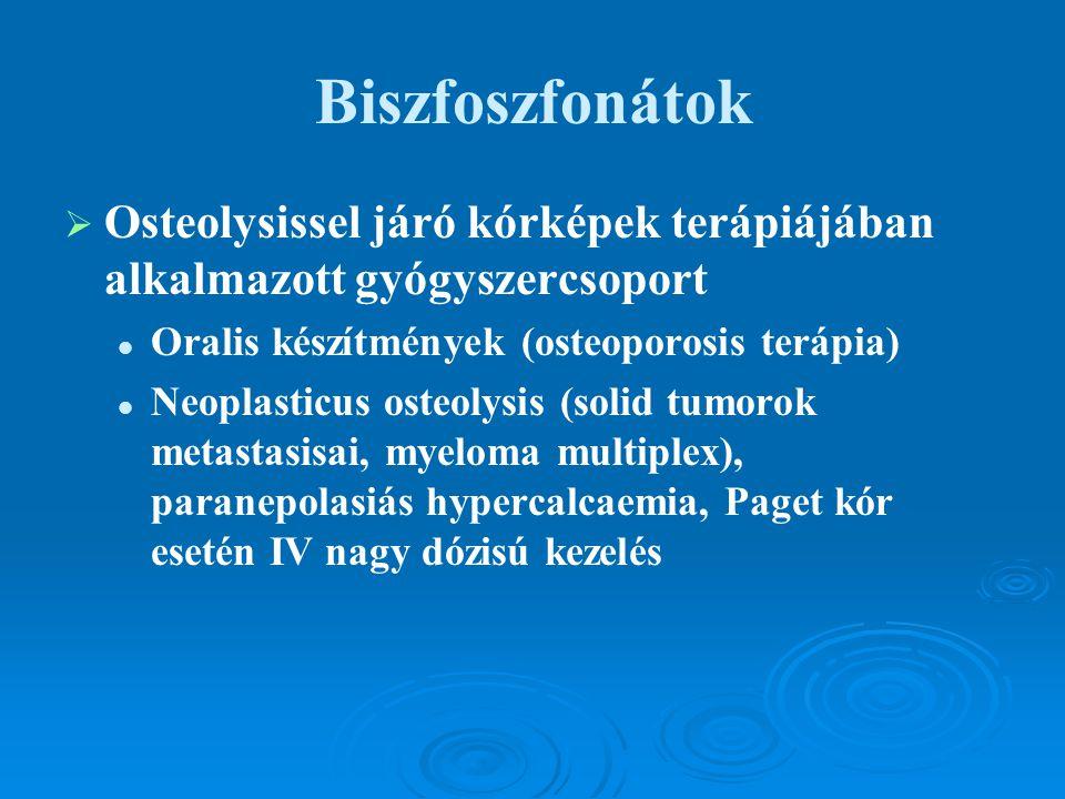 Biszfoszfonátok   Osteolysissel járó kórképek terápiájában alkalmazott gyógyszercsoport Oralis készítmények (osteoporosis terápia) Neoplasticus oste