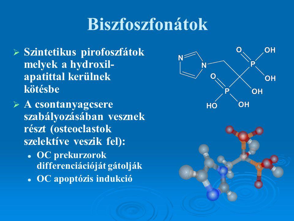 Biszfoszfonátok   Szintetikus pirofoszfátok melyek a hydroxil- apatittal kerülnek kötésbe   A csontanyagcsere szabályozásában vesznek részt (osteo