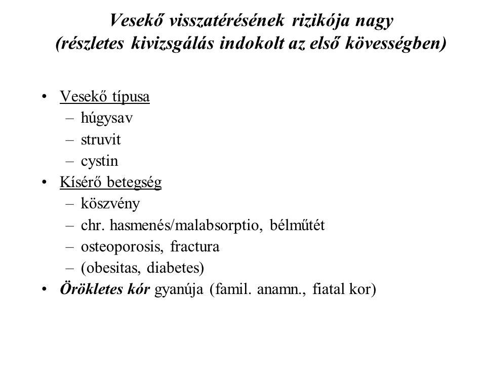 Vesekő visszatérésének rizikója nagy (részletes kivizsgálás indokolt az első kövességben) Vesekő típusa –húgysav –struvit –cystin Kísérő betegség –kös