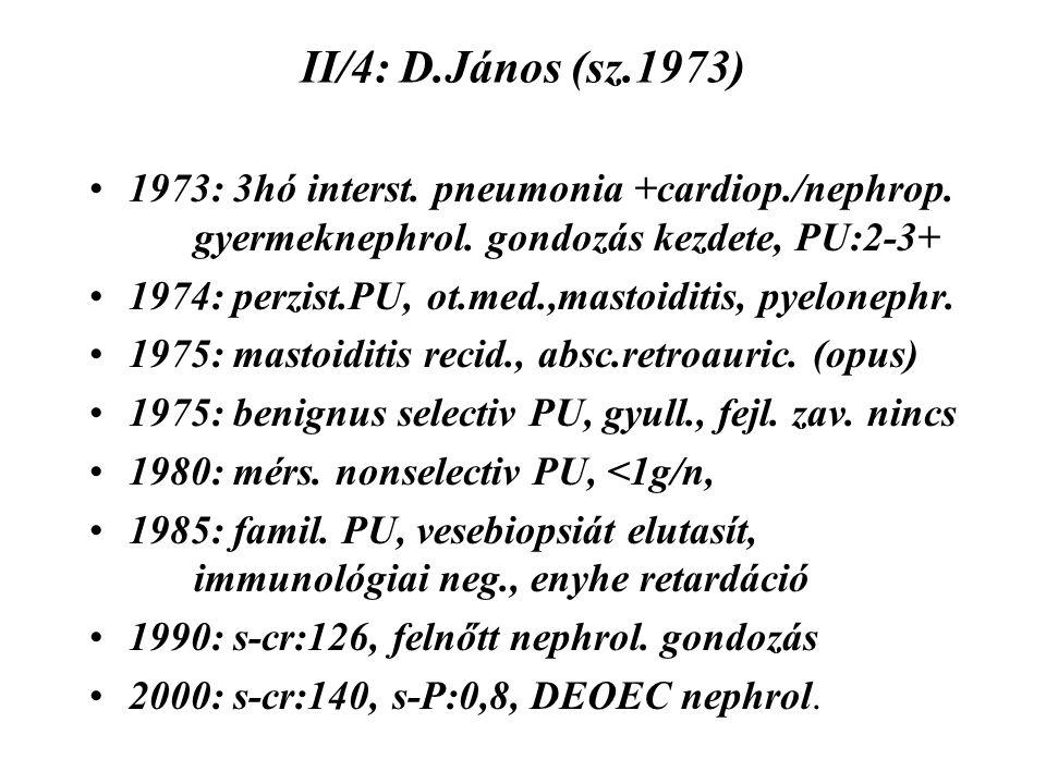 II/4: D.János (sz.1973) 1973: 3hó interst. pneumonia +cardiop./nephrop. gyermeknephrol. gondozás kezdete, PU:2-3+ 1974: perzist.PU, ot.med.,mastoiditi