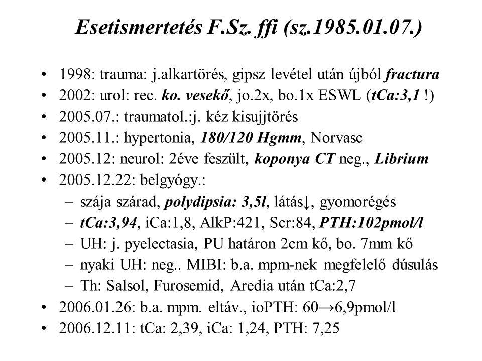 Esetismertetés F.Sz. ffi (sz.1985.01.07.) 1998: trauma: j.alkartörés, gipsz levétel után újból fractura 2002: urol: rec. ko. vesekő, jo.2x, bo.1x ESWL