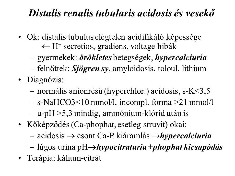 Distalis renalis tubularis acidosis és vesekő Ok: distalis tubulus elégtelen acidifikáló képessége  H + secretios, gradiens, voltage hibák –gyermekek