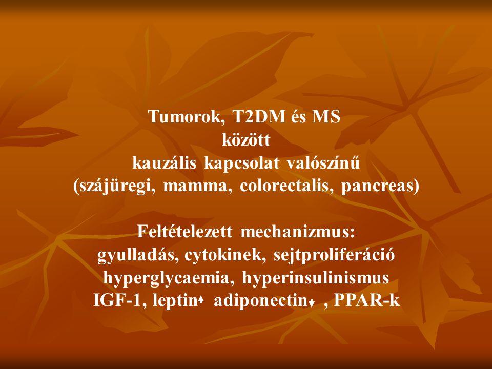 Tumorok, T2DM és MS között kauzális kapcsolat valószínű (szájüregi, mamma, colorectalis, pancreas) Feltételezett mechanizmus: gyulladás, cytokinek, se