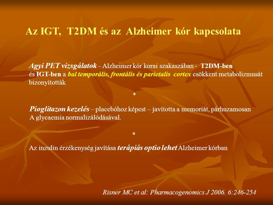 Az IGT, T2DM és az Alzheimer kór kapcsolata Agyi PET vizsgálatok – Alzheimer kór korai szakaszában - T2DM-ben és IGT-ben a bal temporális, frontális é
