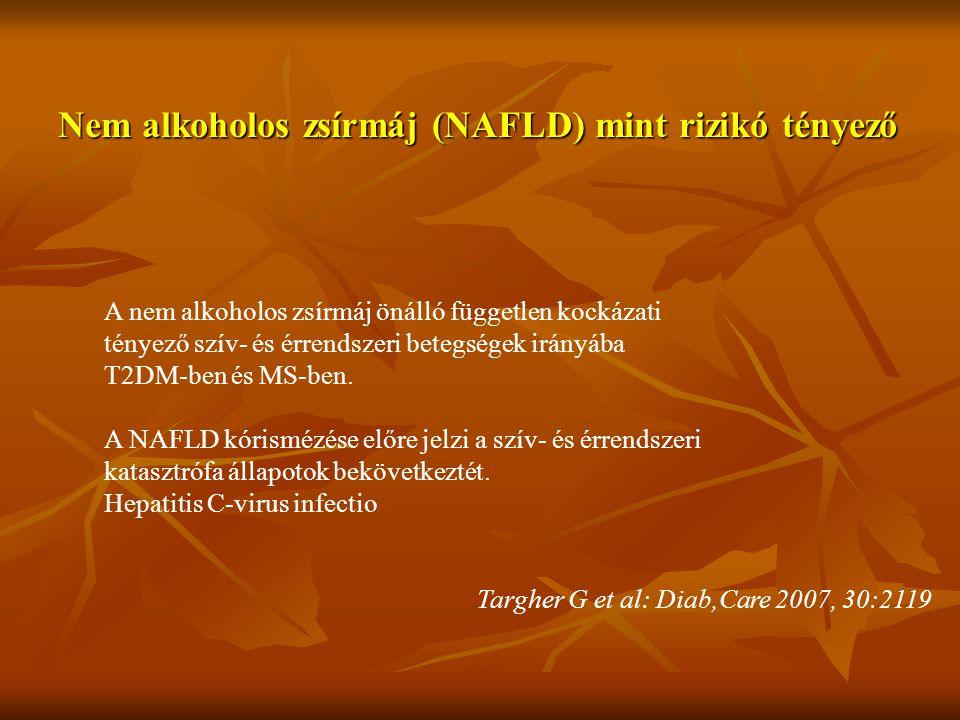 Nem alkoholos zsírmáj (NAFLD) mint rizikó tényező A nem alkoholos zsírmáj önálló független kockázati tényező szív- és érrendszeri betegségek irányába