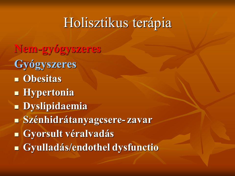 Holisztikus terápia Nem-gyógyszeresGyógyszeres Obesitas Obesitas Hypertonia Hypertonia Dyslipidaemia Dyslipidaemia Szénhidrátanyagcsere- zavar Szénhid