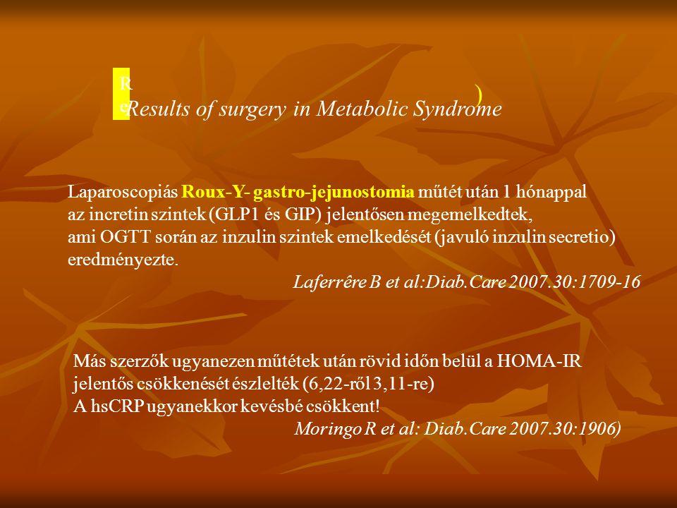 ) Laparoscopiás Roux-Y- gastro-jejunostomia műtét után 1 hónappal az incretin szintek (GLP1 és GIP) jelentősen megemelkedtek, ami OGTT során az inzuli