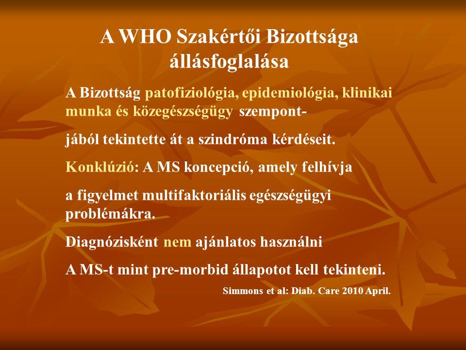 A WHO Szakértői Bizottsága állásfoglalása A Bizottság patofiziológia, epidemiológia, klinikai munka és közegészségügy szempont- jából tekintette át a