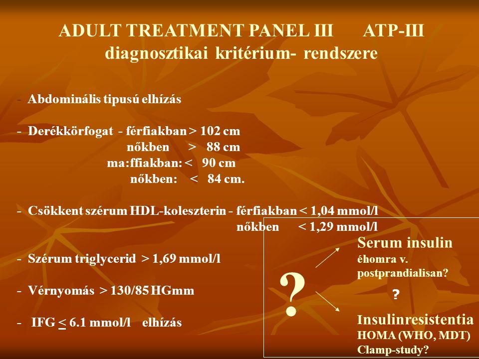 ADULT TREATMENT PANEL III ATP-III diagnosztikai kritérium- rendszere - Abdominális tipusú elhízás - Derékkörfogat - férfiakban > 102 cm nőkben > 88 cm
