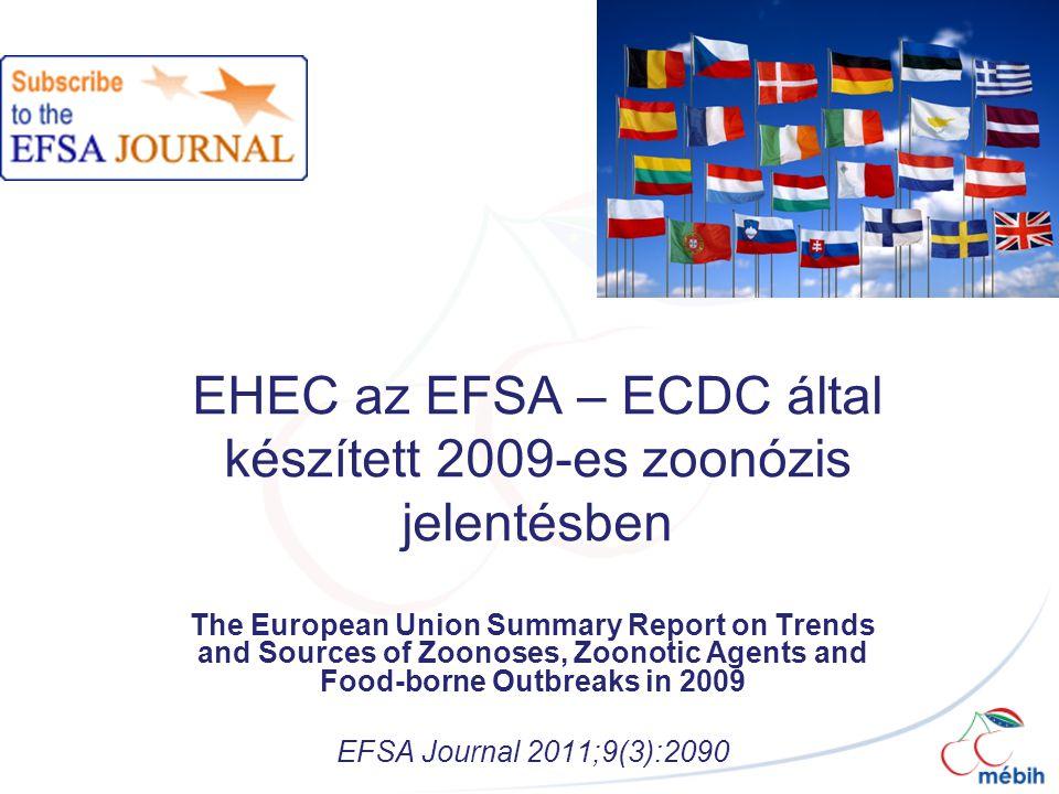EHEC az EFSA – ECDC által készített 2009-es zoonózis jelentésben The European Union Summary Report on Trends and Sources of Zoonoses, Zoonotic Agents and Food-borne Outbreaks in 2009 EFSA Journal 2011;9(3):2090