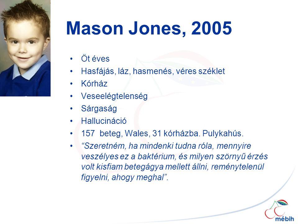 Mason Jones, 2005 Öt éves Hasfájás, láz, hasmenés, véres széklet Kórház Veseelégtelenség Sárgaság Hallucináció 157 beteg, Wales, 31 kórházba.