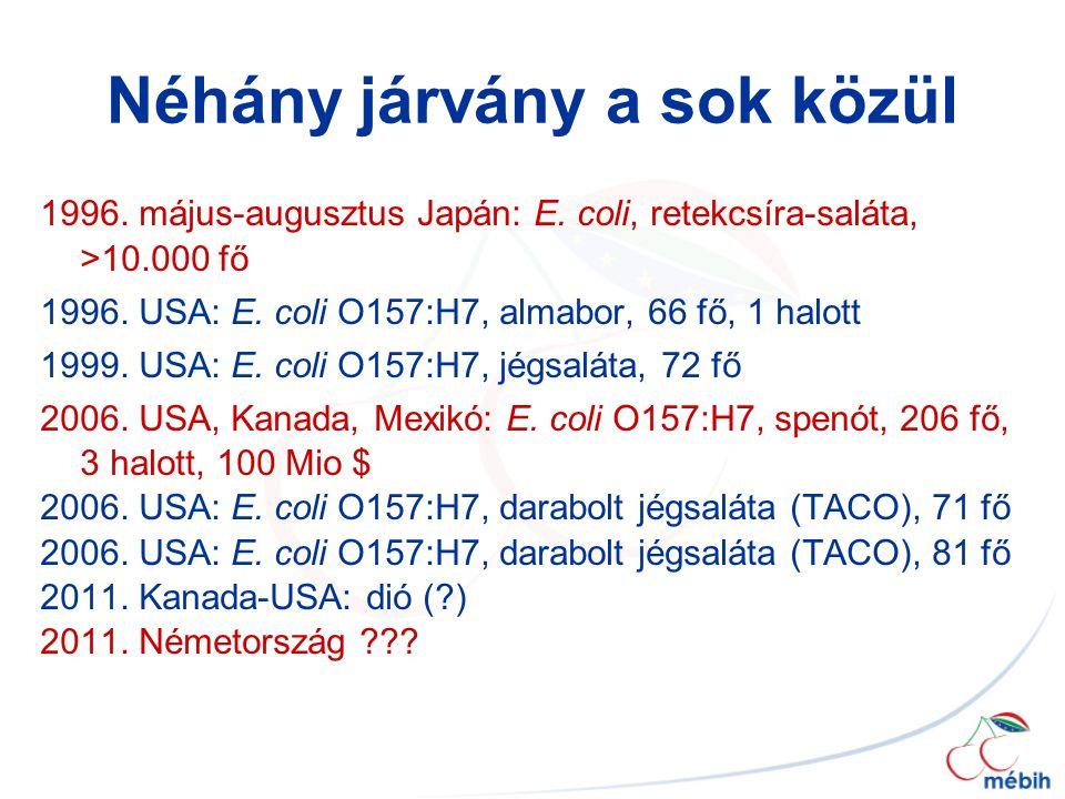Néhány járvány a sok közül 1996. május-augusztus Japán: E. coli, retekcsíra-saláta, >10.000 fő 1996. USA: E. coli O157:H7, almabor, 66 fő, 1 halott 19