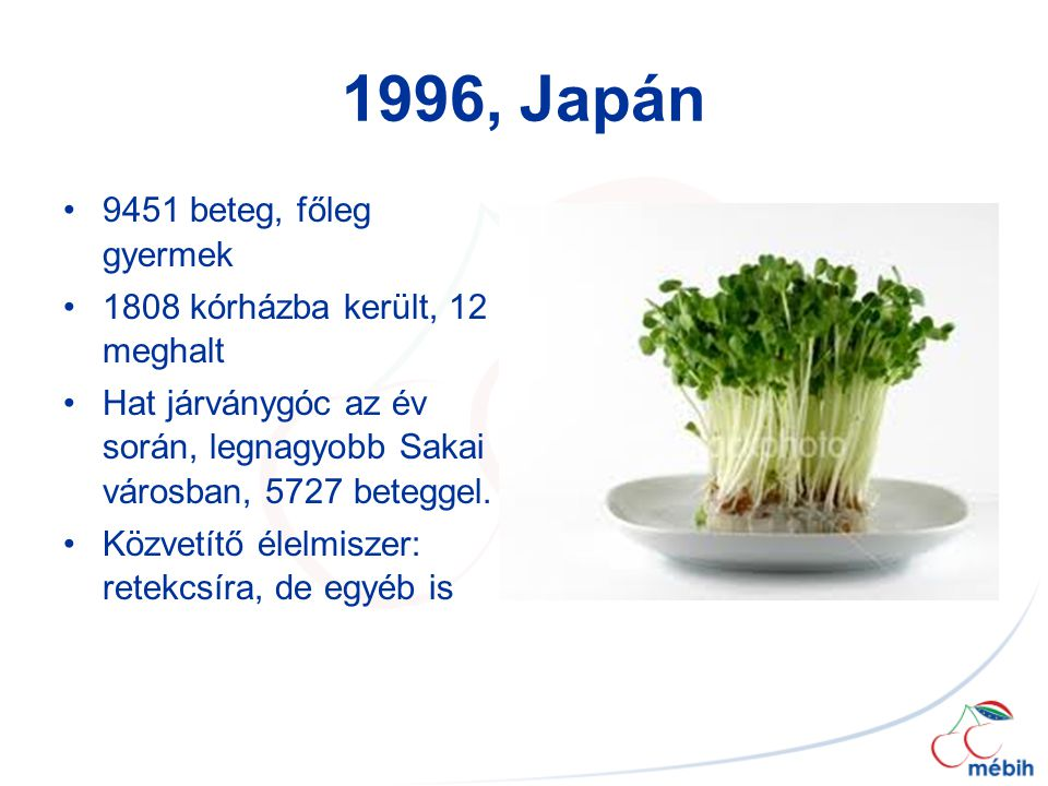 1996, Japán 9451 beteg, főleg gyermek 1808 kórházba került, 12 meghalt Hat járványgóc az év során, legnagyobb Sakai városban, 5727 beteggel. Közvetítő