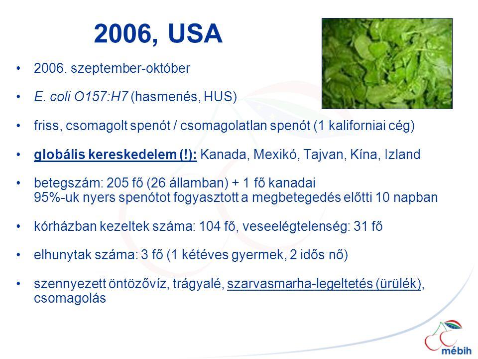2006, USA 2006. szeptember-október E. coli O157:H7 (hasmenés, HUS) friss, csomagolt spenót / csomagolatlan spenót (1 kaliforniai cég) globális kereske