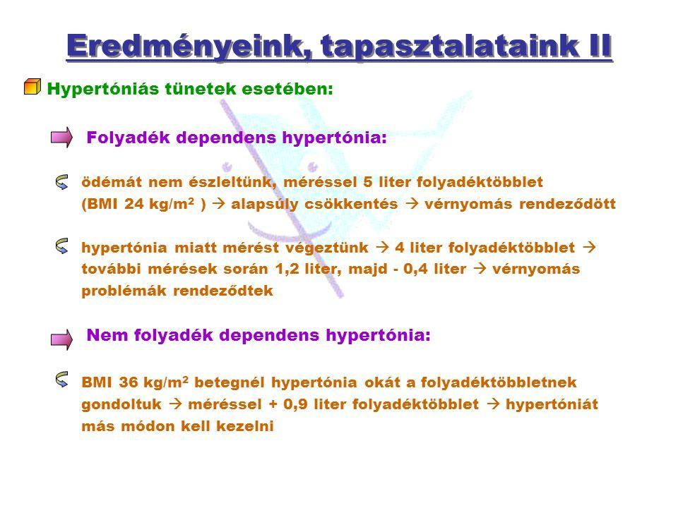 Eredményeink, tapasztalataink II Hypertóniás tünetek esetében: Folyadék dependens hypertónia: ödémát nem észleltünk, méréssel 5 liter folyadéktöbblet