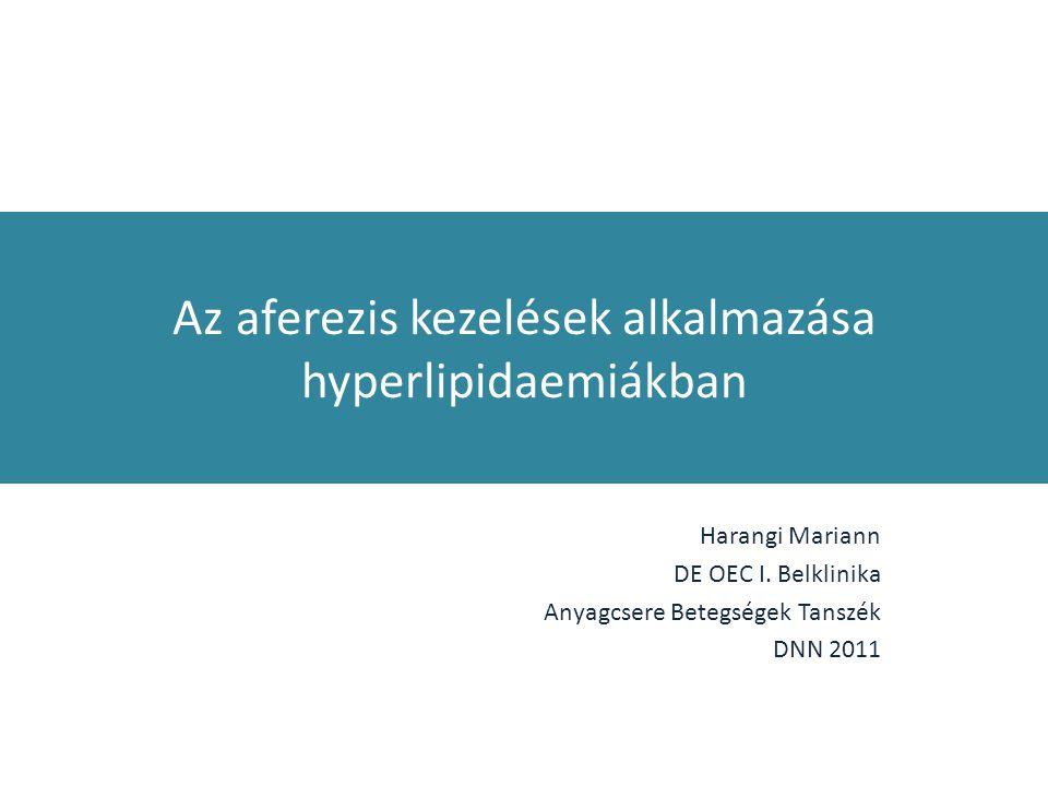 Az aferezis kezelések alkalmazása hyperlipidaemiákban Harangi Mariann DE OEC I. Belklinika Anyagcsere Betegségek Tanszék DNN 2011