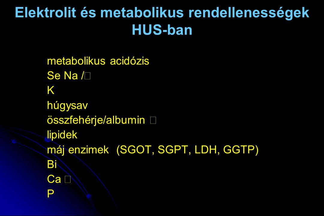 Elektrolit és metabolikus rendellenességek HUS-ban metabolikus acidózis Se Na  /  K  húgysav  összfehérje/albumin  lipidek  máj enzimek  (SGOT,