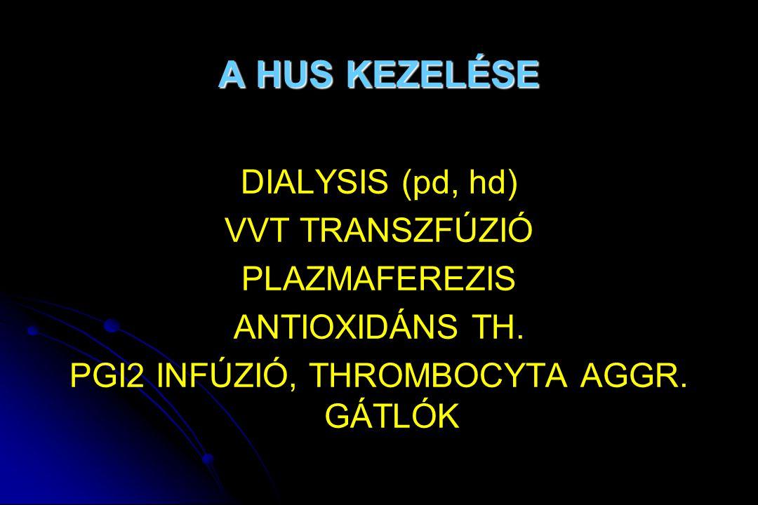A HUS KEZELÉSE DIALYSIS (pd, hd) VVT TRANSZFÚZIÓ PLAZMAFEREZIS ANTIOXIDÁNS TH. PGI2 INFÚZIÓ, THROMBOCYTA AGGR. GÁTLÓK